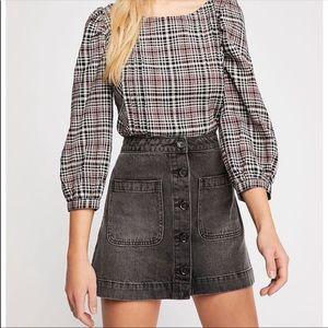 We The Free High Rise black mini denim jean skirt